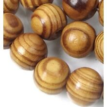 10mm Natural Wood Round Rocaille Beads 16