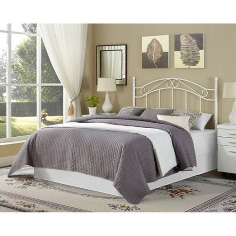 traditional metal white full queen size headboard bed bedroom frame furniture ebay. Black Bedroom Furniture Sets. Home Design Ideas