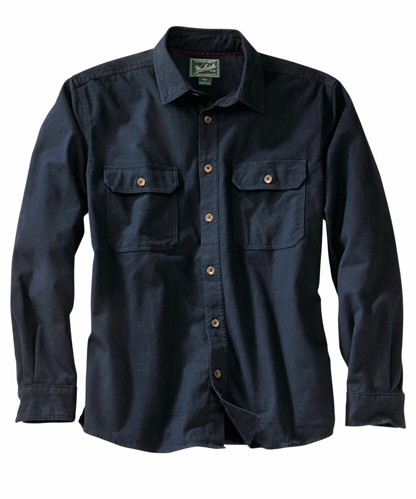 Men's Woolrich Expedition Chamois Shirt Heavy NEW Navy 100 ...