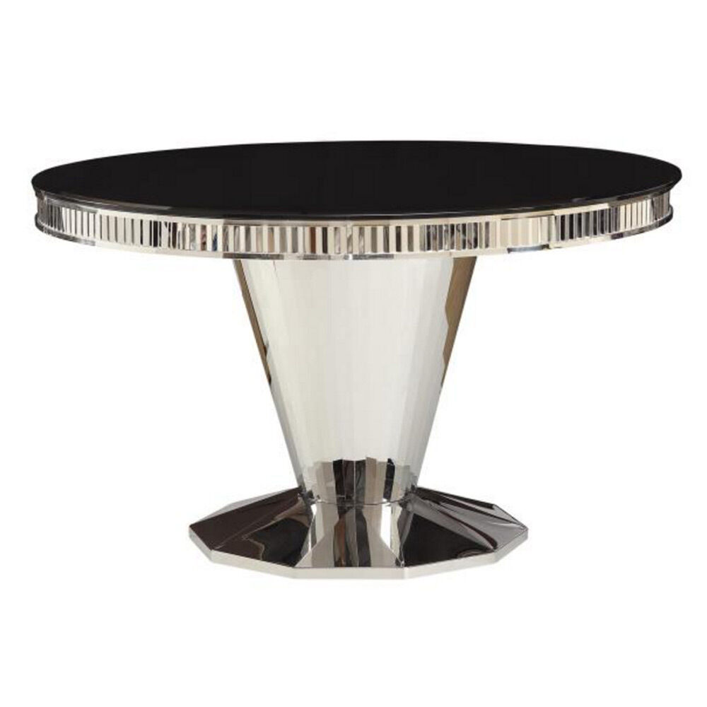 barzini contemporary dining round table glass top stainless steel mirrored base ebay. Black Bedroom Furniture Sets. Home Design Ideas