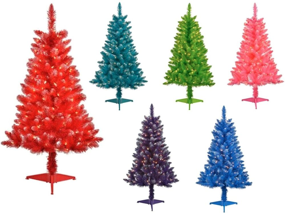 Pre-Lit 4' Tinsel Artificial Christmas Tree With Clear