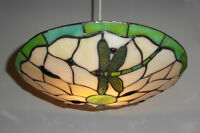*SALE PRICE* TIFFANY Stained-glass Uplighter Shade - Green DRAGONFLY PM5004