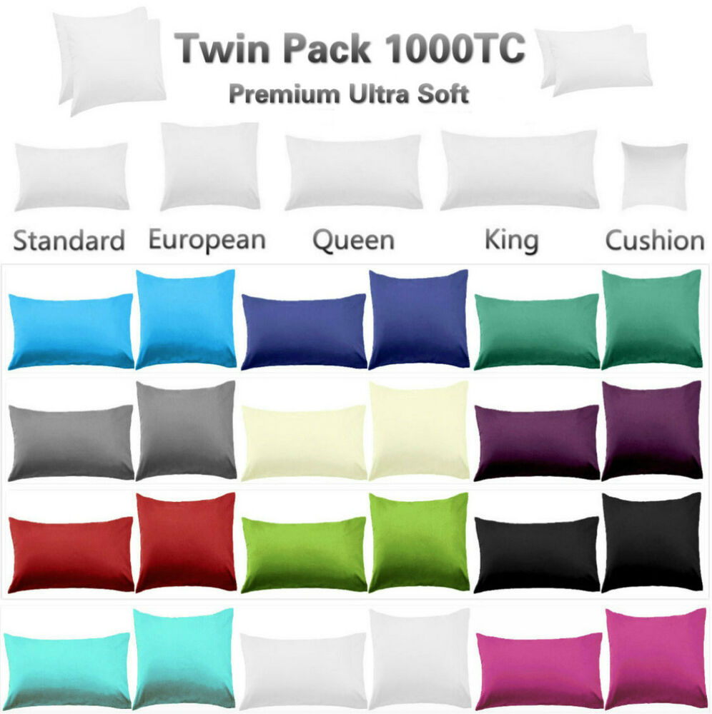 2 x european standard size pillowcases queen king size pillowcases 1000tc ebay. Black Bedroom Furniture Sets. Home Design Ideas
