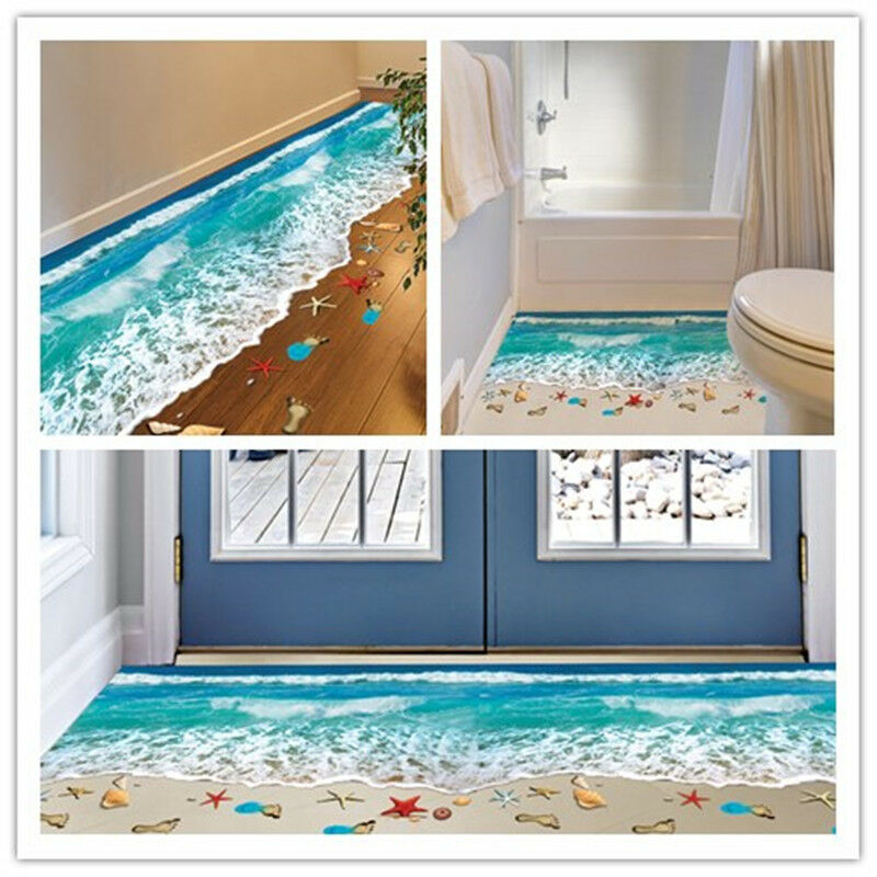 3D Beach Floor Wall Sticker Removable Mural Decals Vinyl Art Living Room Deco