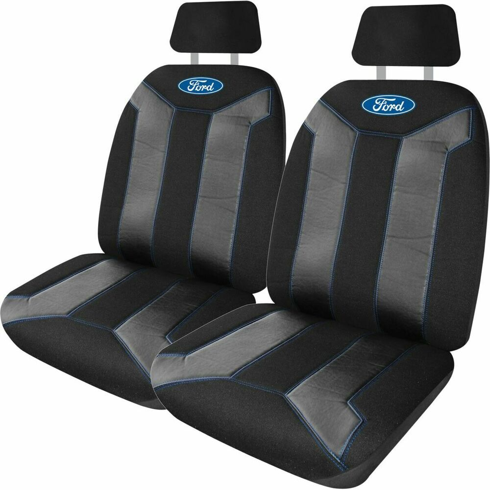 ford fusion seat covers black blue adjustable headrests size 30 front ebay. Black Bedroom Furniture Sets. Home Design Ideas