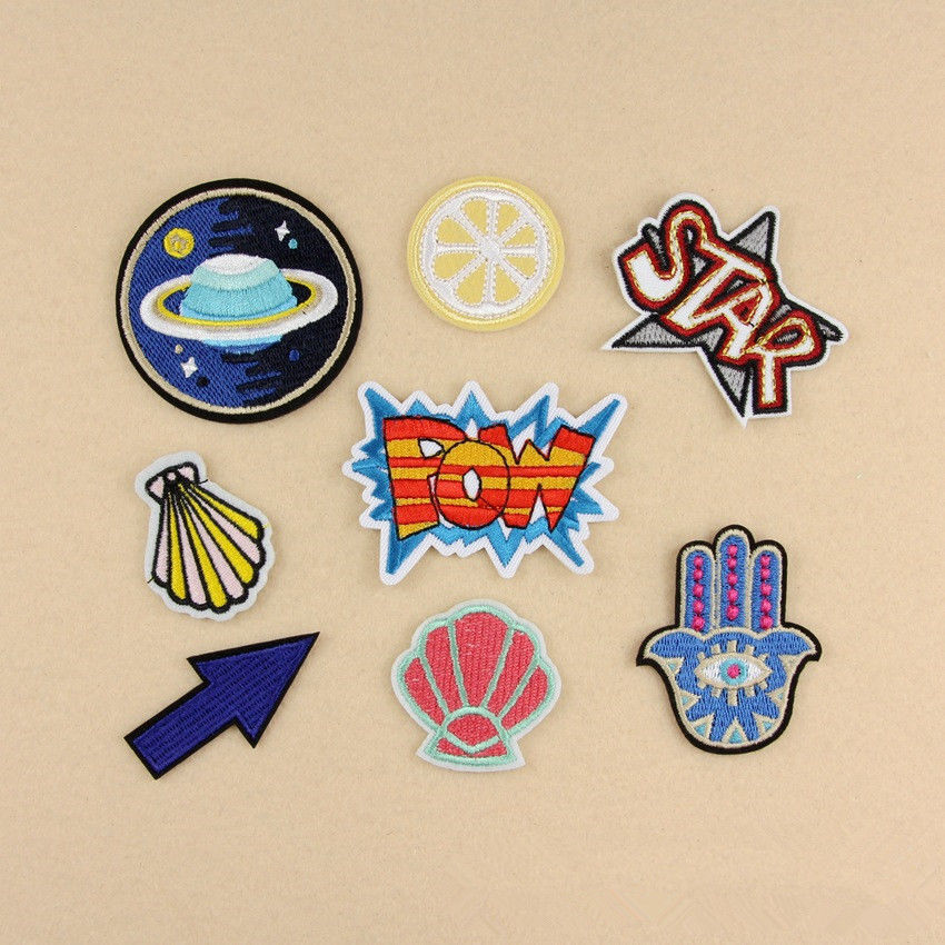 8x embroidery outer space sew iron on patch badge bag for Outer space fabric uk