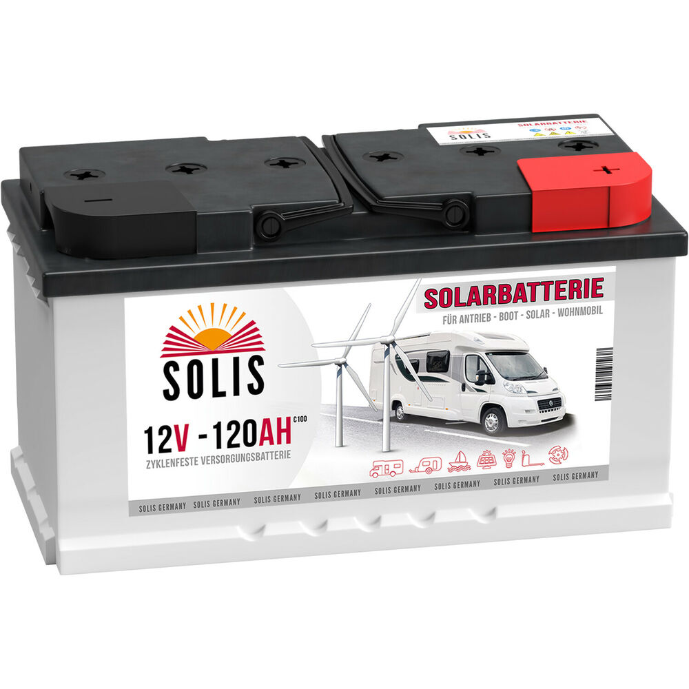 solis 120ah 12v usv solarbatterie boot wohnmobil versorgung solar batterie 100ah ebay. Black Bedroom Furniture Sets. Home Design Ideas