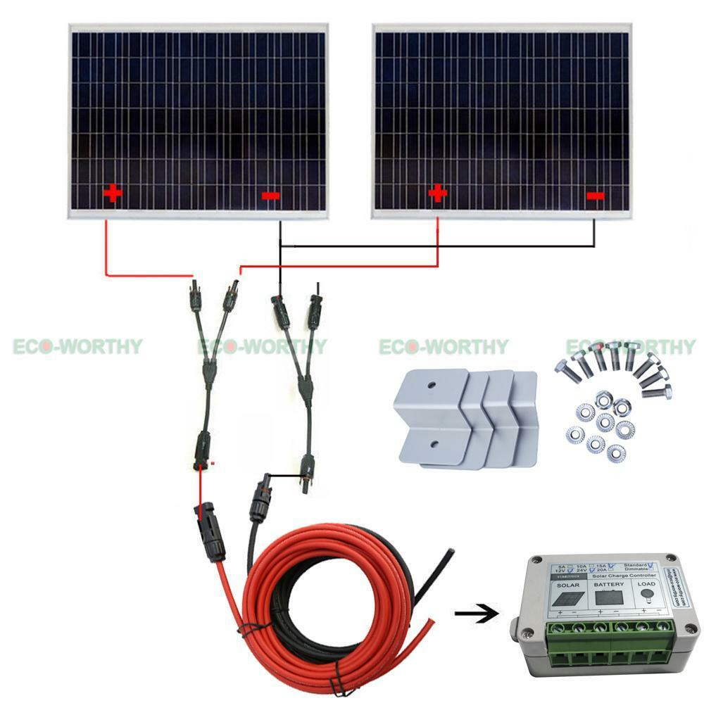 500W Watt 24V Solar Complete Kit: 2*250W Poly Solar Panel ...
