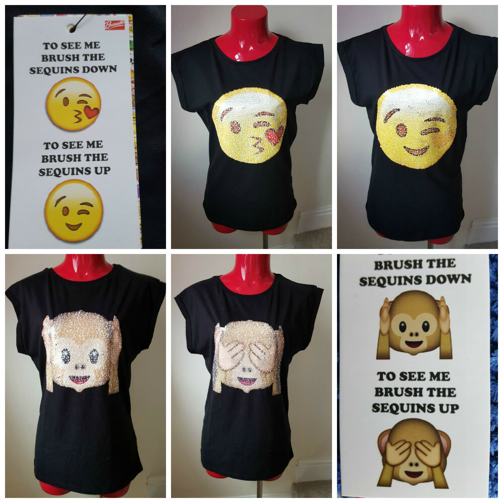 Bnwt primark emoji emotions t shirt tee top brush changing for Sequin t shirt changing