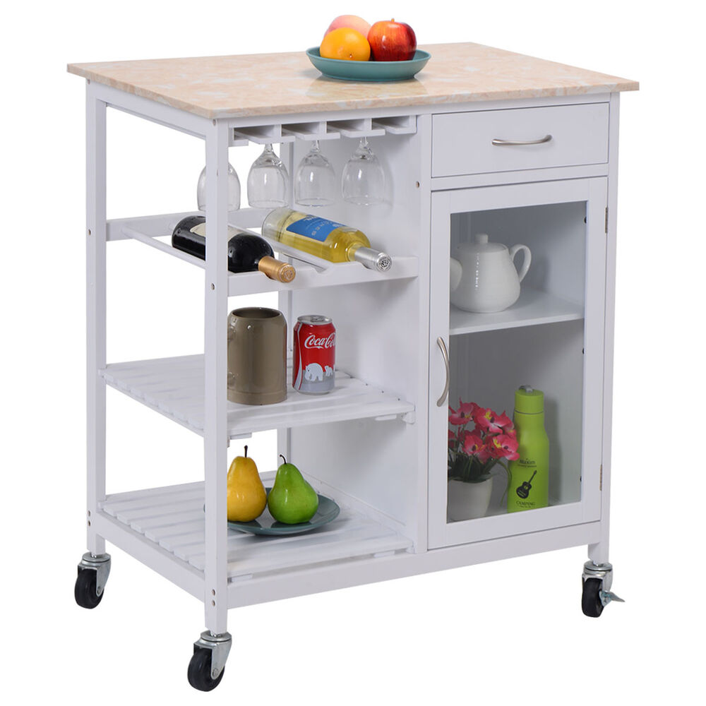 Portable Kitchen: Portable Kitchen Rolling Cart Faux Marble Top Island