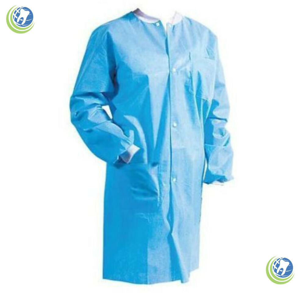 Medical Dental Disposable Protective Lab Coat Gown Blue