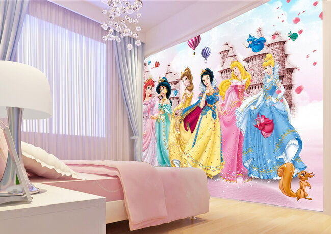 6 disney princess castle balloon wallpaper wall decals for Disney princess wall mural tesco