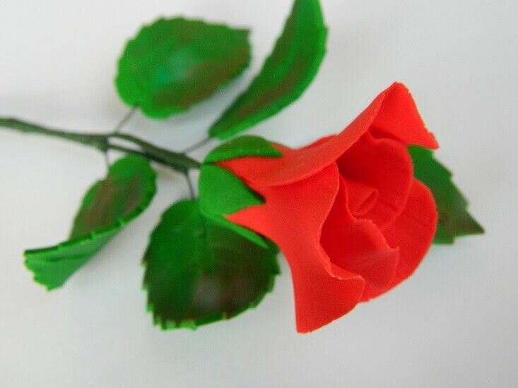 Edible Cake Decorations Holly Leaves : 1 edible ROSE BUD STEM LEAVES cake decoration CUPCAKE ...