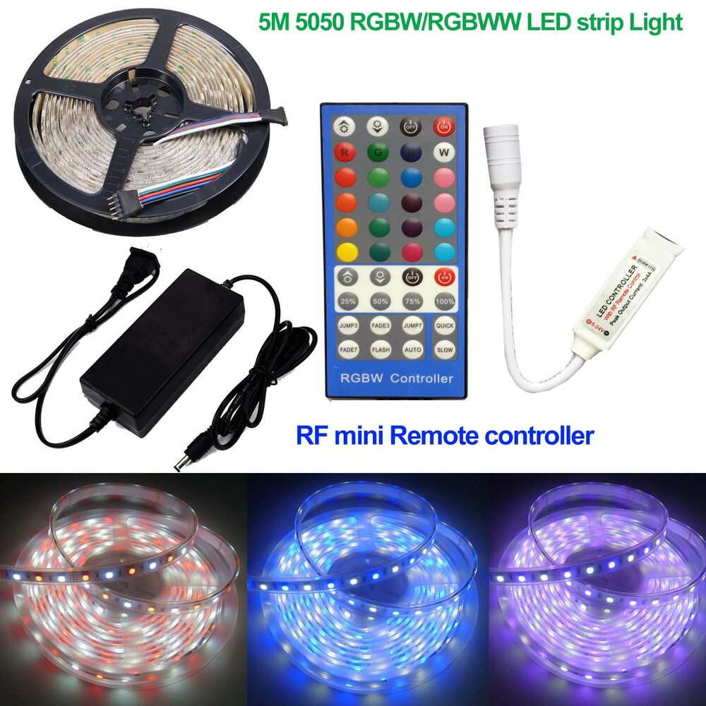 5m smd 5050 rgbw string rgbww led strip lights 12v rf mini remote power ebay. Black Bedroom Furniture Sets. Home Design Ideas