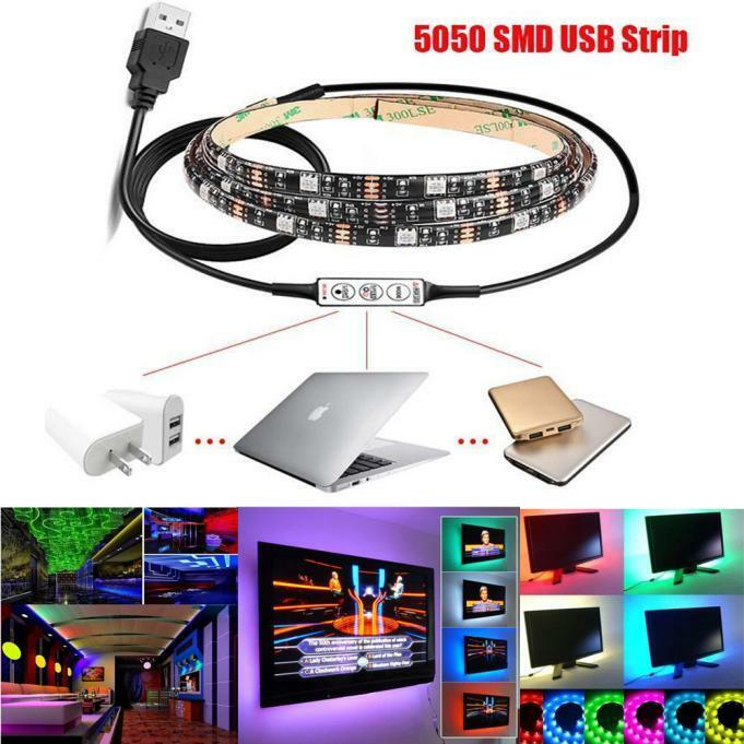 1m 2m multi color rgb led strip light usb cable led tv background lighting kit ebay. Black Bedroom Furniture Sets. Home Design Ideas