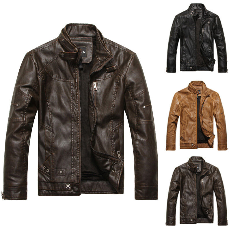 neu winter herren biker jacke vintage pu lederjacke m ntel. Black Bedroom Furniture Sets. Home Design Ideas