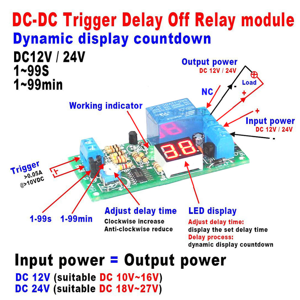 Dc 12v 24v Led Display Digital Delay Timer Control Switch Turn Off Indicator Circuit For Board Games Electronic Relay Module Ebay