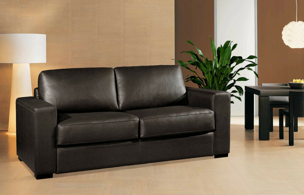 schlafsofa echt leder bettsofa mit integrierter matratze sofort lieferbar ebay. Black Bedroom Furniture Sets. Home Design Ideas