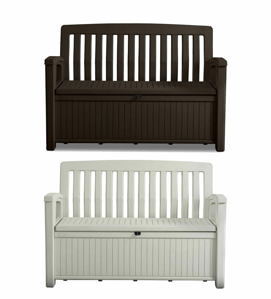 keter patio bench auflagentruhe gartenbank gartenbox terrassenbank bank b ware ebay. Black Bedroom Furniture Sets. Home Design Ideas