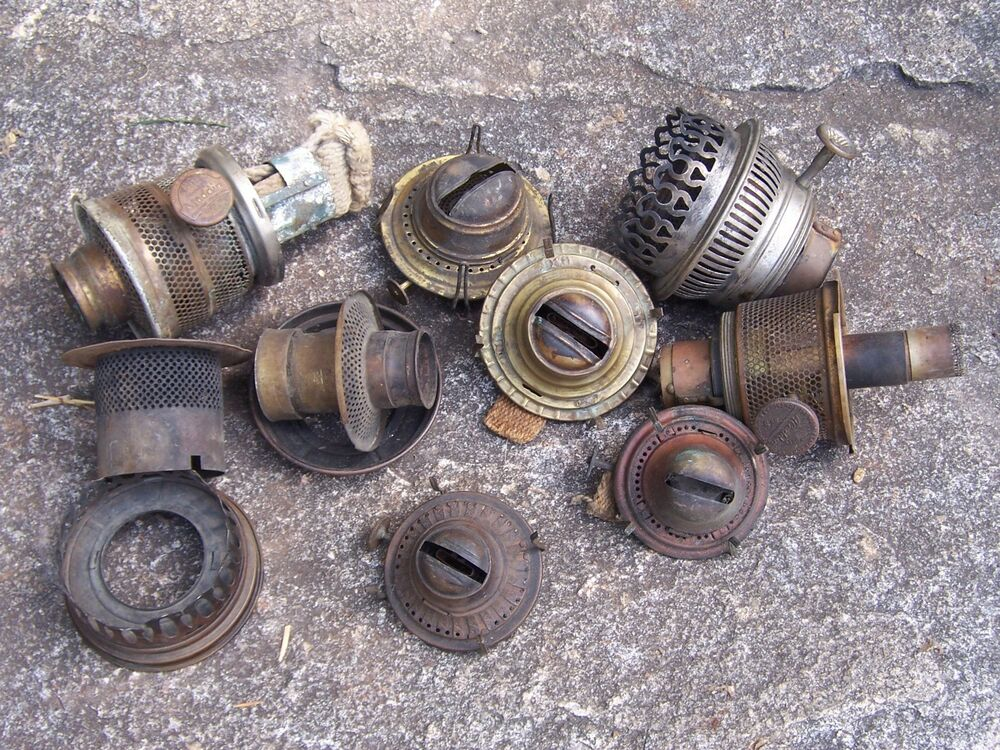 Antique Lot Of Oil Lamp Burner Parts Aladdin And Others Ebay