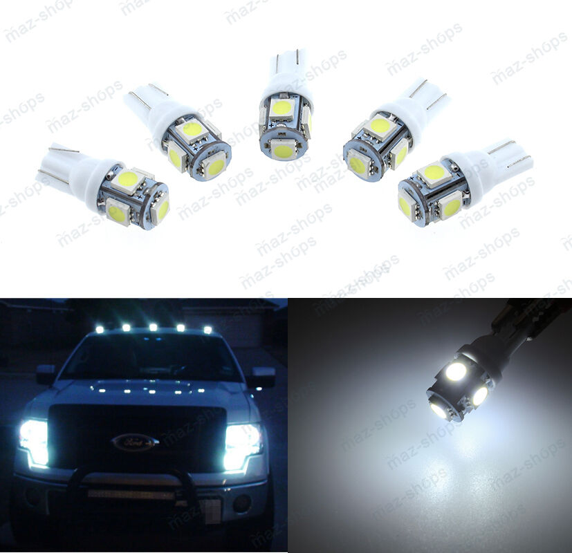 5pcs White Roof Cab Marker Clearance Led Bulbs Lights Fit