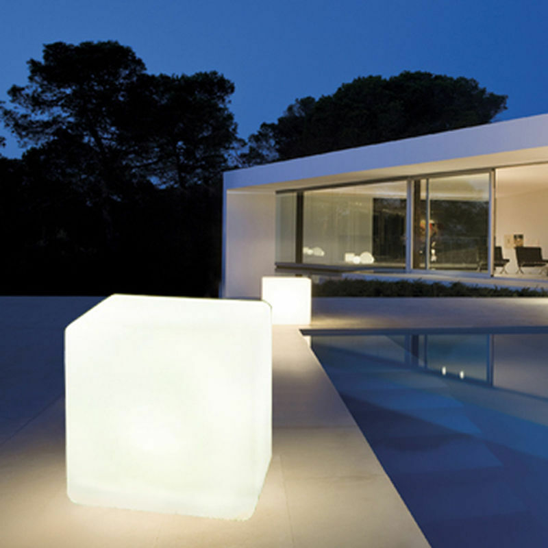 Garden Solar Lights Outdoor Led Lamp Cube Rgb Color Sit