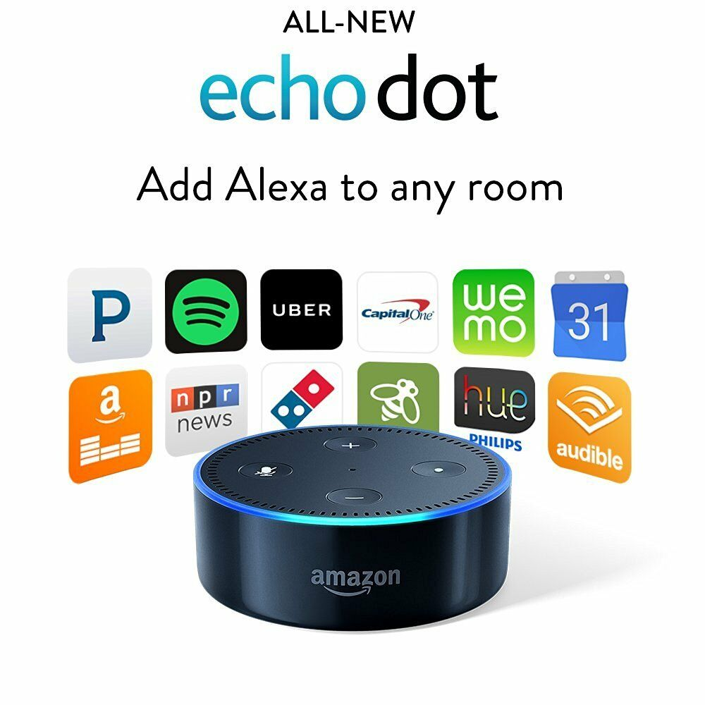 amazon echo dot 2nd generation w alexa voice media device. Black Bedroom Furniture Sets. Home Design Ideas