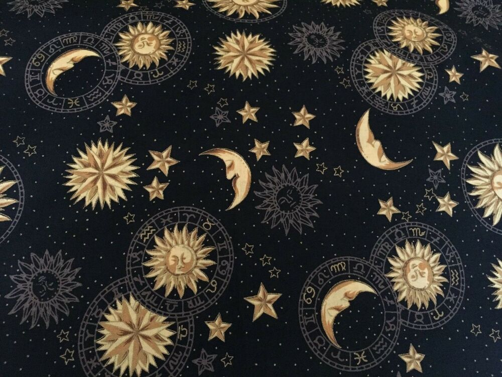 Hoffman intl black celestials sun moon stars fabric for Sun moon fabric