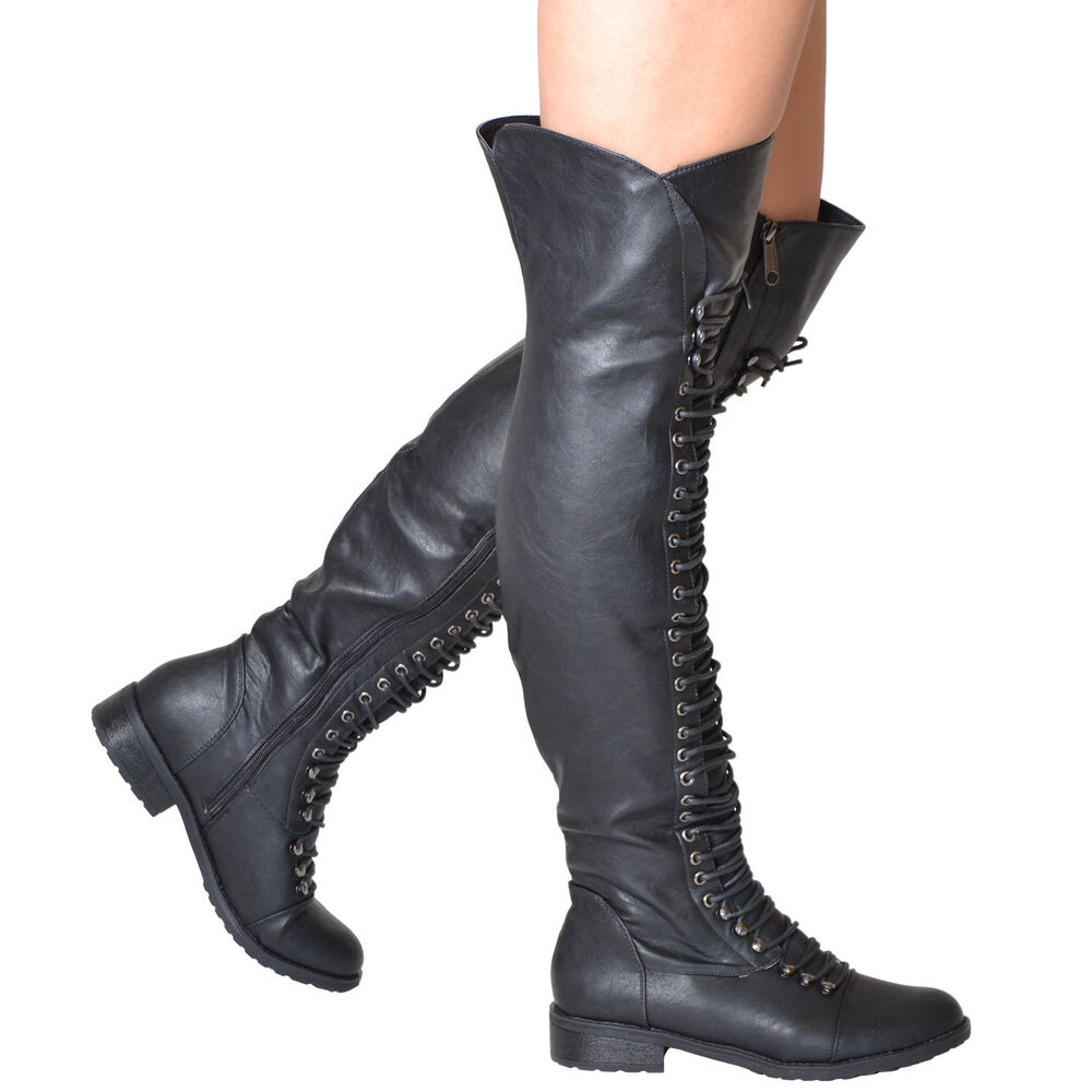 womens the knee high boots corset lace up zip