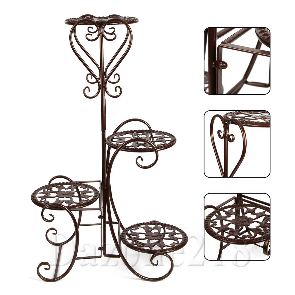 Wrought Iron Flower Stand Design Bilayer Innovative Crafts