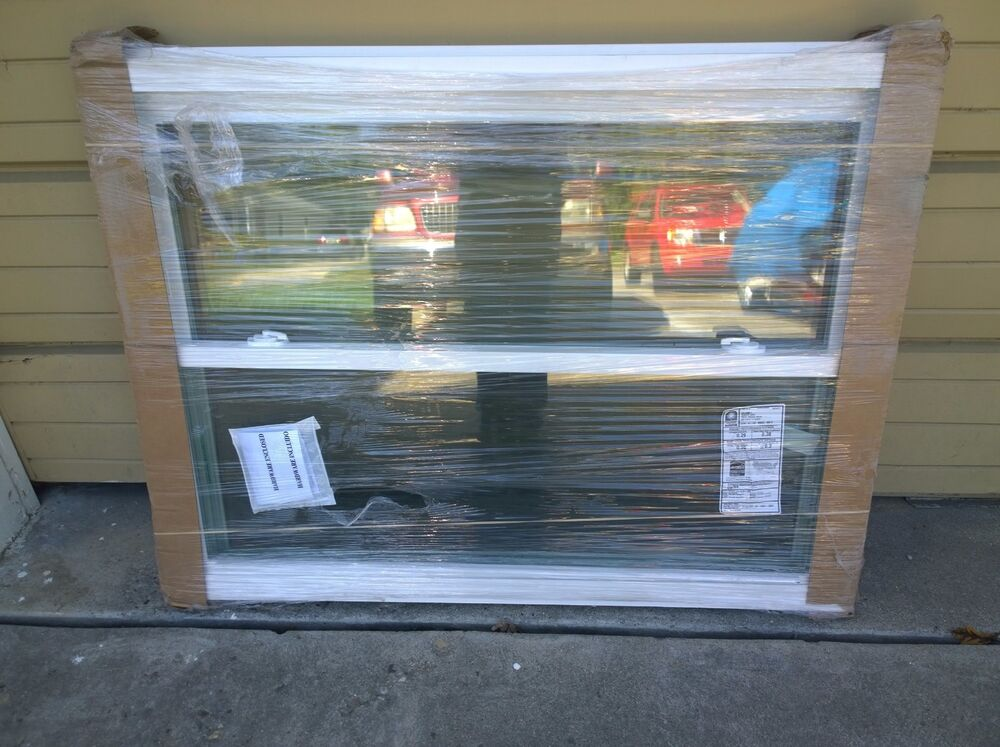 Double Strength Glass Cutting : New nice white vinyl double hung home window w