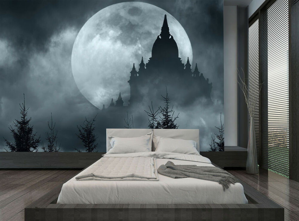 Forest moon night castle dark cloud wall mural photo for Cloud wallpaper mural