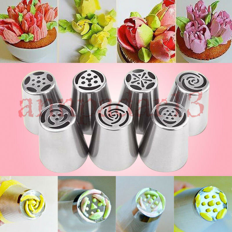 7pcs Russian Flower Icing Piping Nozzles Tips Pastry Cake