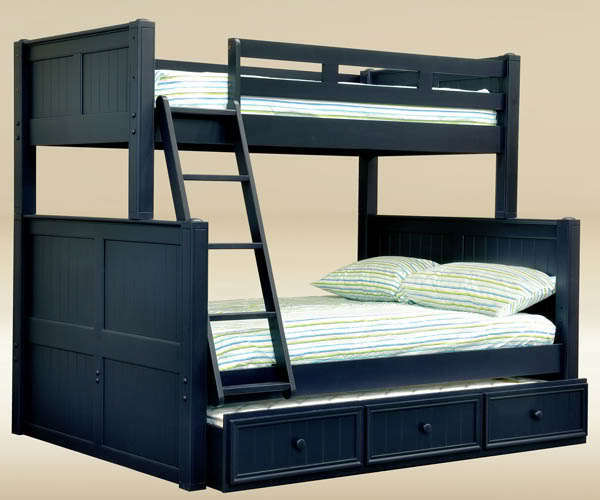 new cottage navy blue twin full birch wood bunk bed w trundle bed storage ebay. Black Bedroom Furniture Sets. Home Design Ideas
