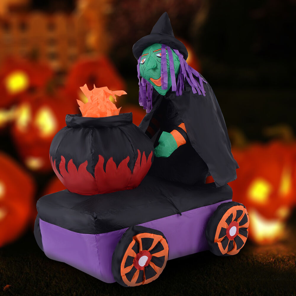 Ft halloween inflatable witch cauldron light yard