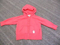 VERTBAUDET GIRLS CORAL LONG SLEEVE HOODED ZIP UP TOP SIZE 6 MONTHS