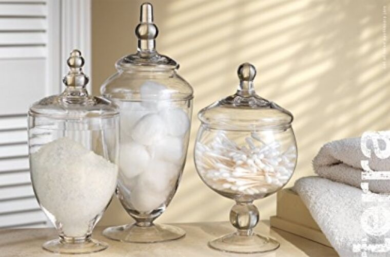 Glass apothecary jar clear canister candy vintage lid jars for Bathroom containers with lids