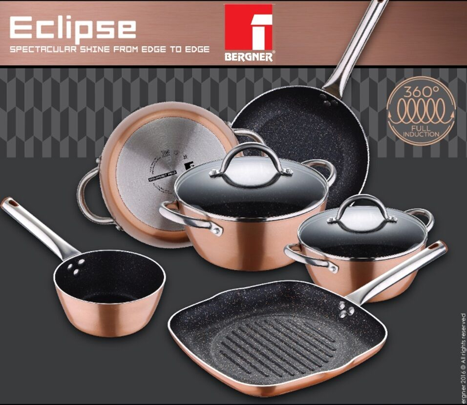 Bergner Copper Pans Pots Full Induction With Non Stick By