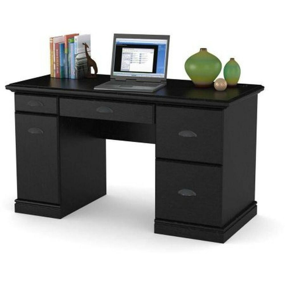 Computer desk workstation table modern executive wood for Home office workstation desk