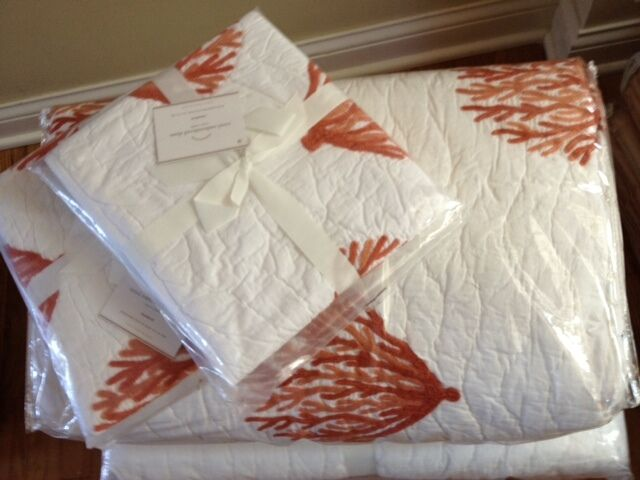 Pottery Barn Coral Quilt Set Red King 3 Euro Shams