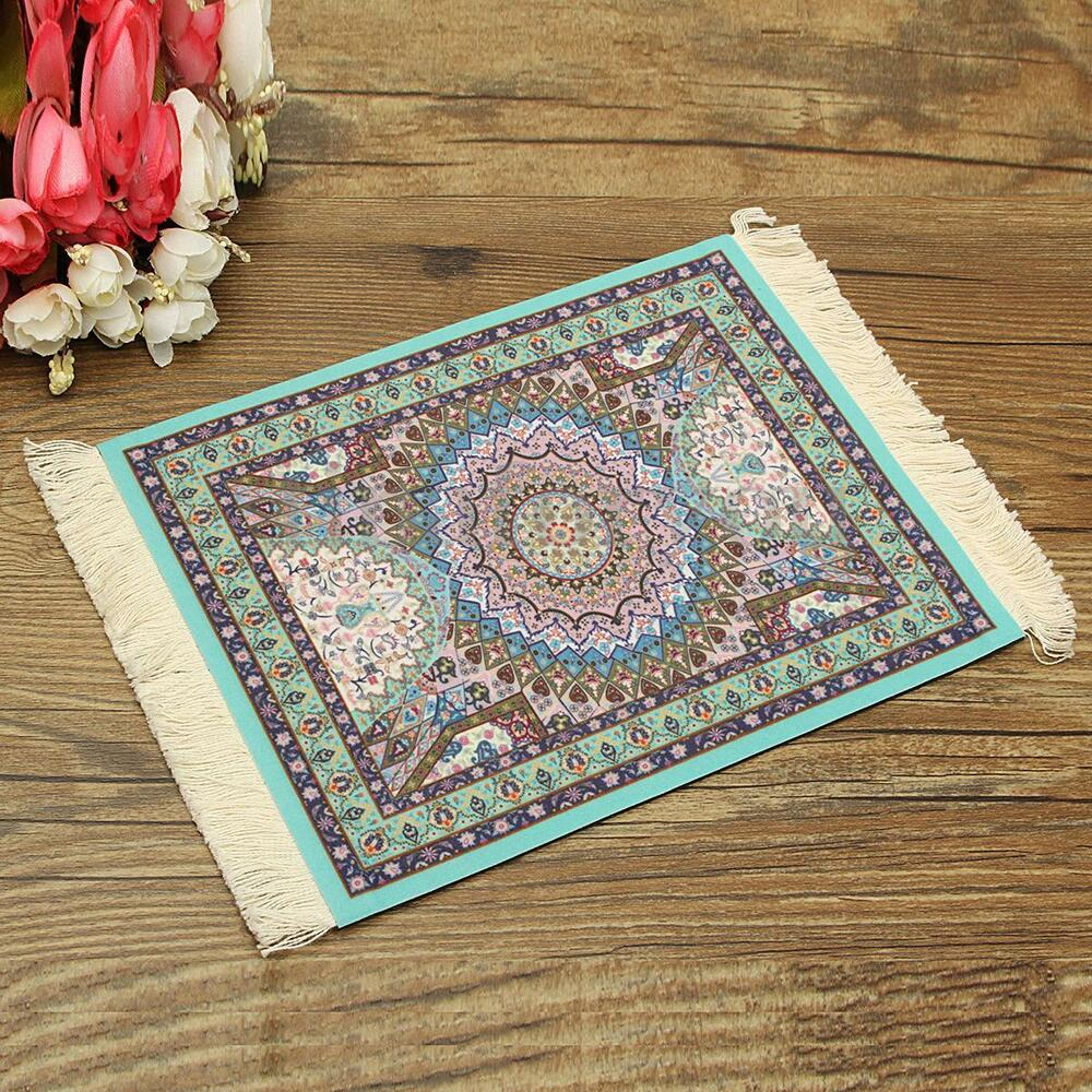 Oriental Rugs Out Of Style: 28x18cm Blue Persian Style Mini Woven Rug Mouse Pad Carpet