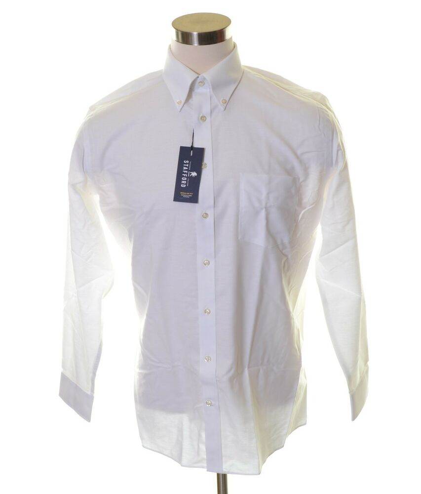 Easy care oxford stafford white wrinkle free travel button for Stafford white short sleeve dress shirts