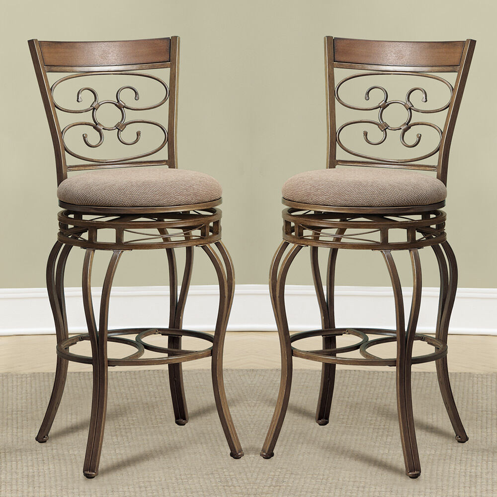 """29 Inch Vintage Wood Bar Stool Dining Chair Counter Height: 2 Pcs Swivel Counter Height Stool 24""""H Antique Curved"""
