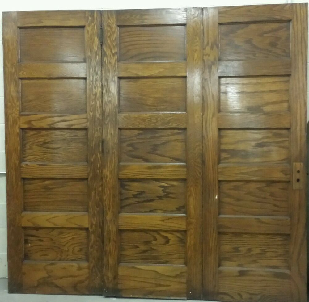 Pocket Panel Doors Antique Set Of 3 Folding Oak Doors 5
