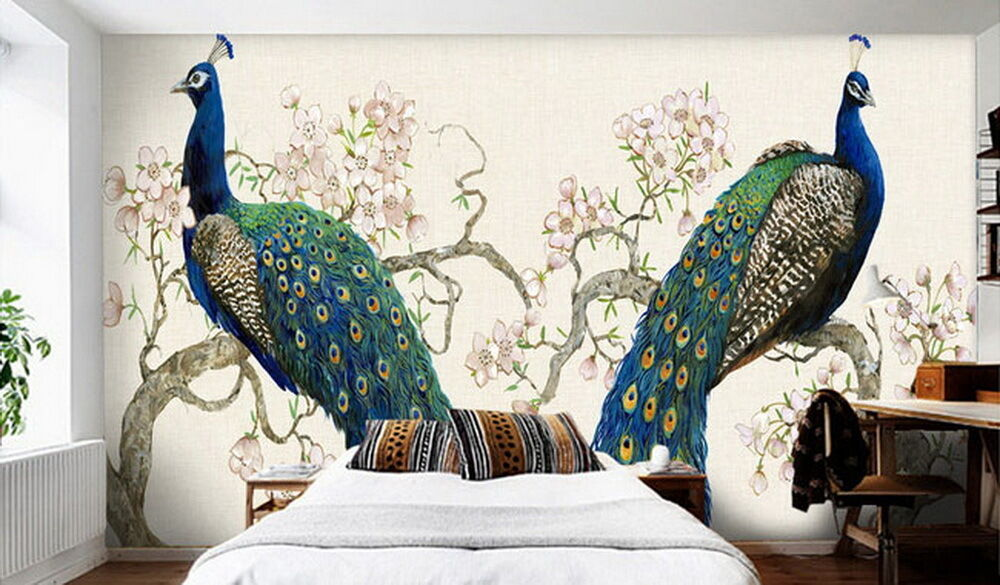 Peacock On Peach Blossom Tree Wallpaper Wall Decals Wall