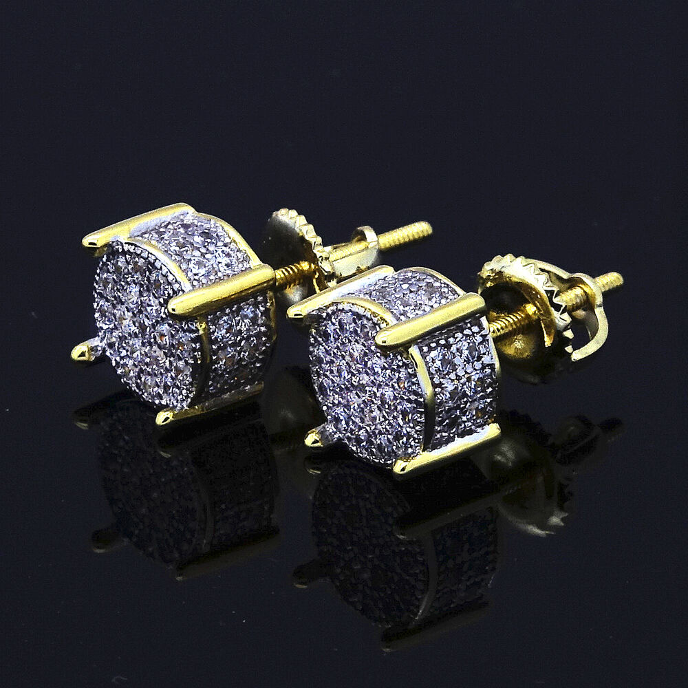 Mens gold plated two tone iced out cz micropave earring for Men s jewelry earrings