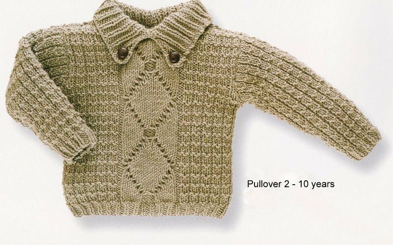 Baby Boy Aran Pullover/Sweater Button Down Collar 2-10 yrs Knitting Pattern ...