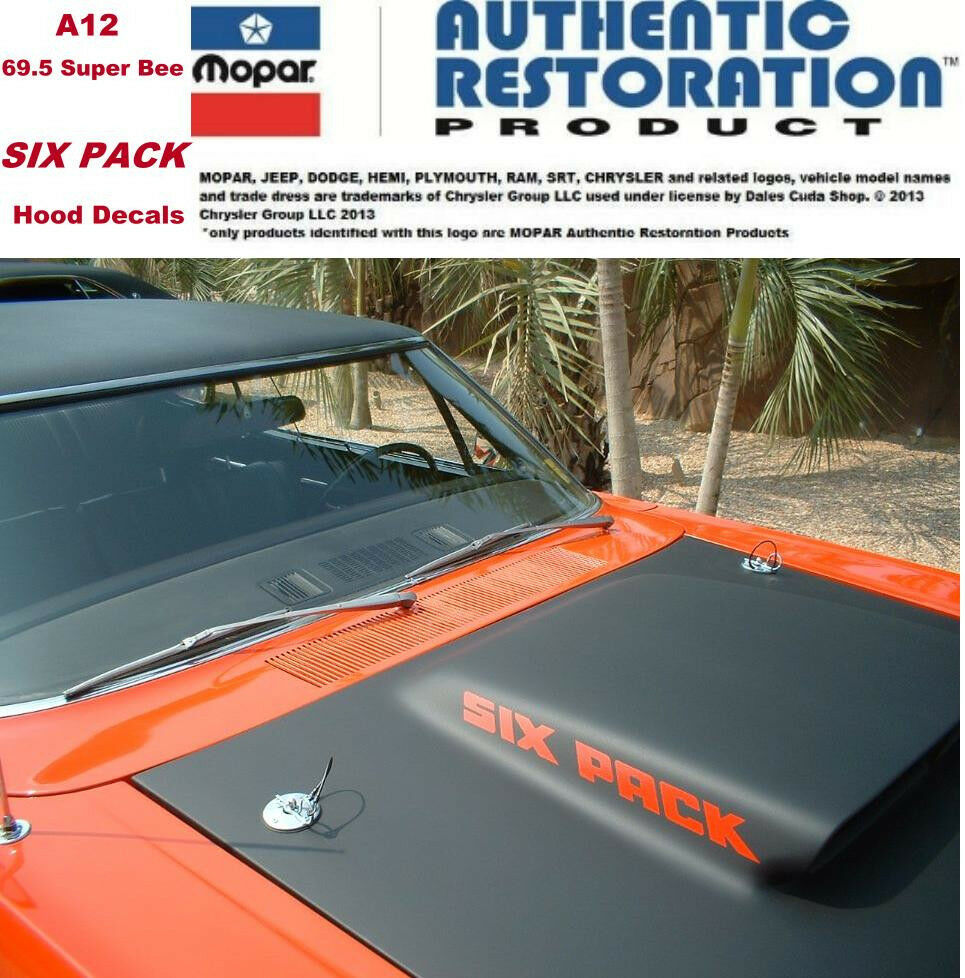 1969 A12 Super Bee 440 Six Pack Hood Decals 3412423 3412424 Licensed Dodge Coronet Mopar Usa Ebay