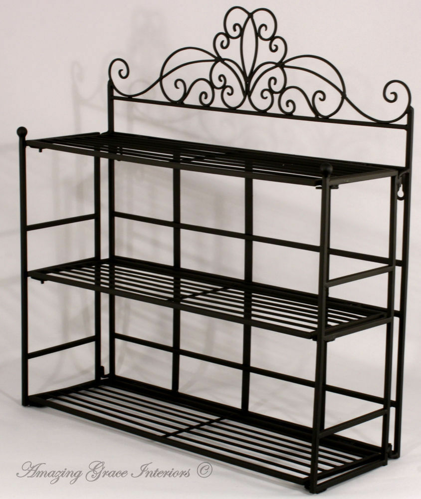 Shabby chic black metal wall shelf storage unit display for Metal bathroom shelving unit