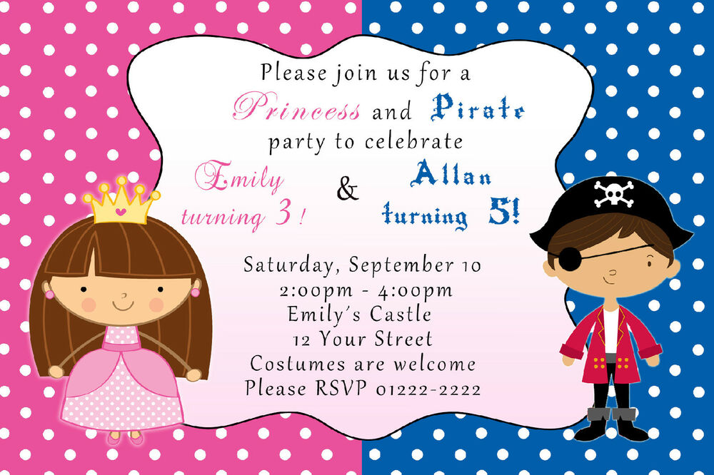 30 Birthday Party Invitation Pirate Princess Costume SIblings Twins ...